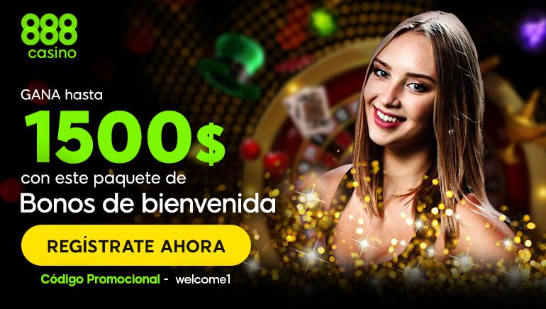 Paquete de bienvenida de hasta 1500 $ en el Casino 888, no puedes perdértelo