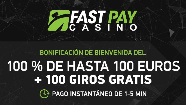 Bono de €100 y 100 tiros gratis para nuevos jugadores en FastPay Casino