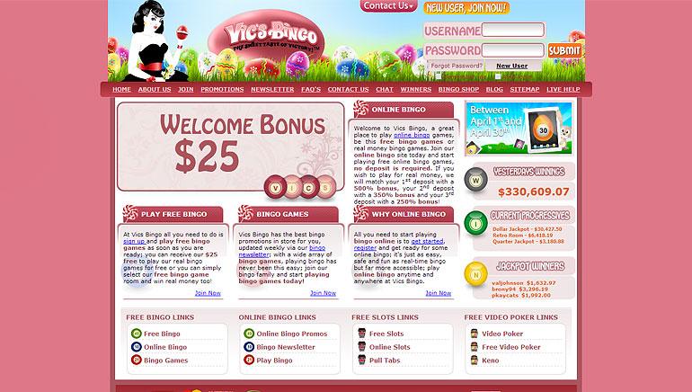 Vics bingo bonus codes